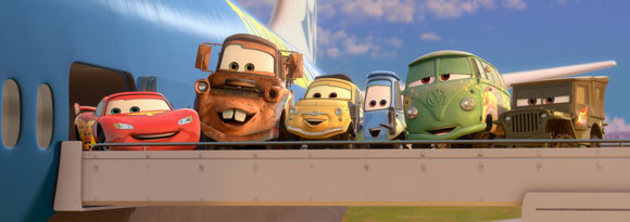 Cars 2 characters board an airplane