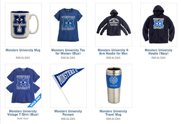 Monsters University Store Selling Shirts with Four Arms