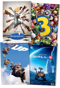 Four Pixar Film Posters