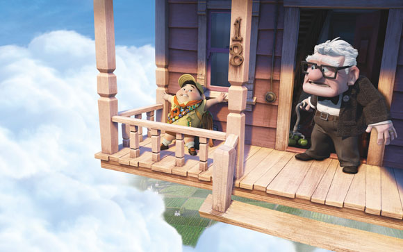 Carl and Russell on the Flying House, Pixar UP