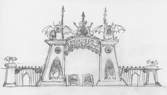 Pixar Monsters University gate pencil sketch