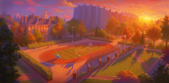 Pixar Monsters University track at sunset