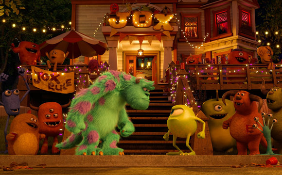 Pixar Monsters University Mike and Sully stare off