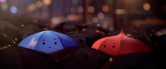 Still from new Pixar short The Blue Umbrella