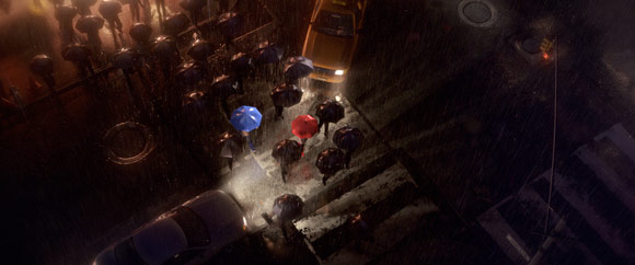 Still image of rainy city Pixar's The Blue Umbrella