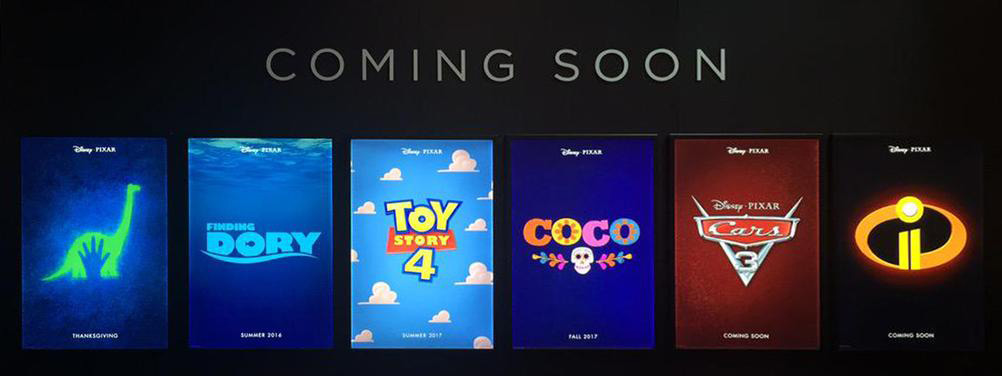 posters for Pixar's upcoming films