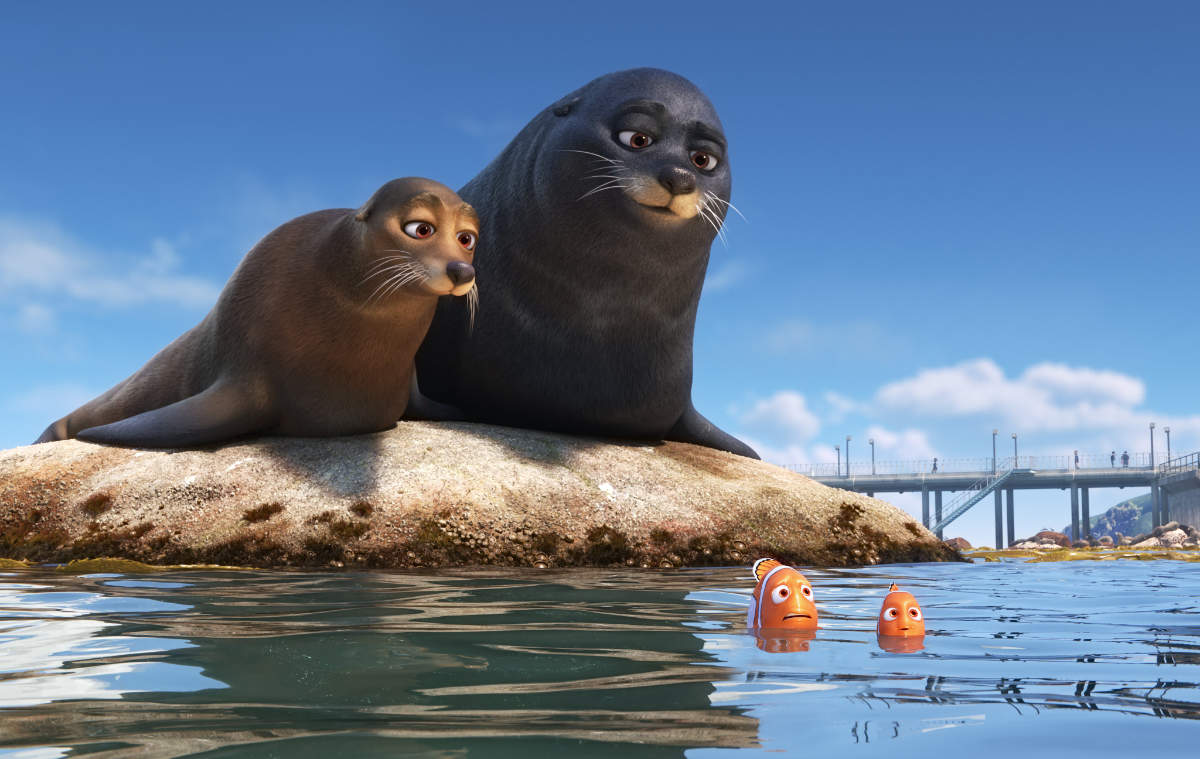 Nemo, Marlin and the Sea Lions from Pixar's Finding Doy